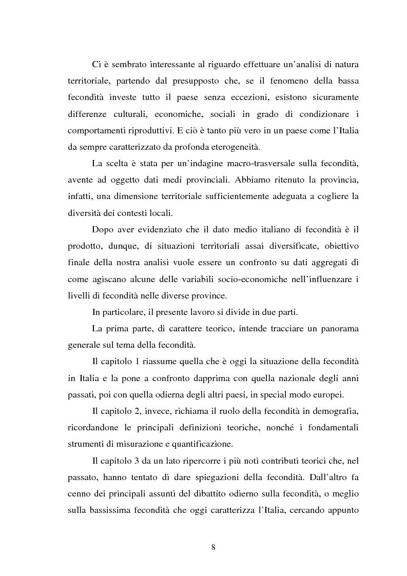 Anteprima della tesi: La fecondità in Italia: riflessioni teoriche ed evidenze empiriche in un confronto tra le province, Pagina 2