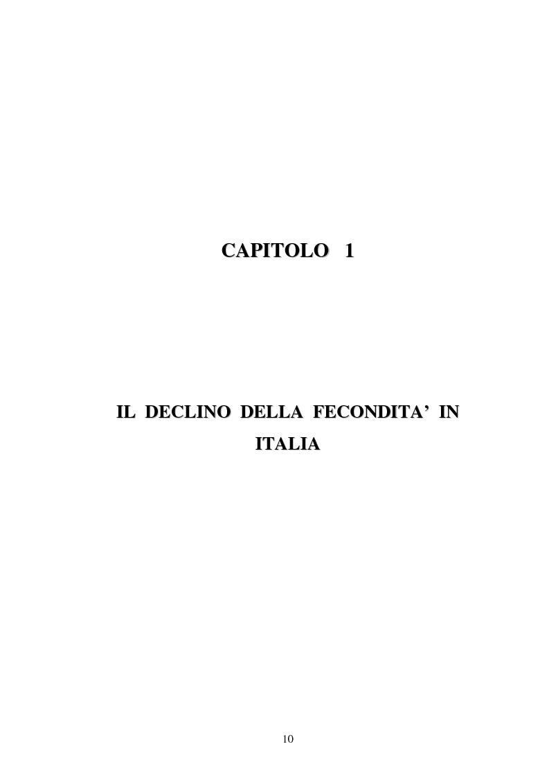 Anteprima della tesi: La fecondità in Italia: riflessioni teoriche ed evidenze empiriche in un confronto tra le province, Pagina 4
