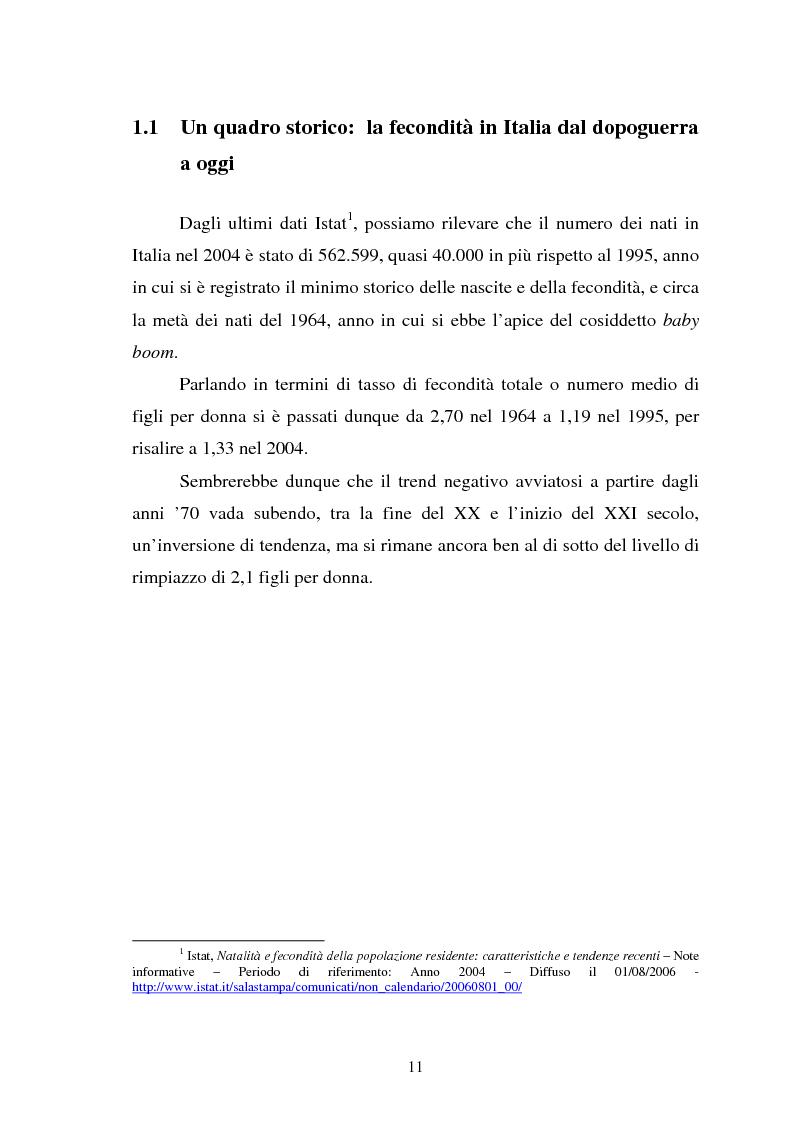 Anteprima della tesi: La fecondità in Italia: riflessioni teoriche ed evidenze empiriche in un confronto tra le province, Pagina 5