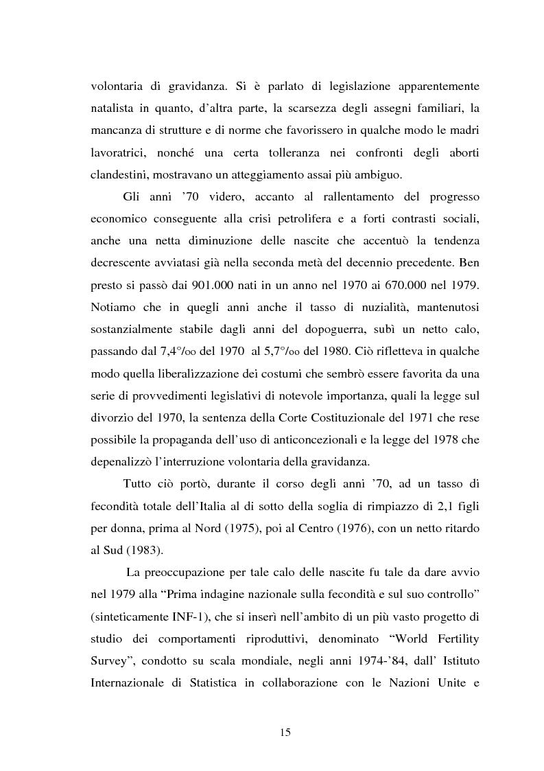 Anteprima della tesi: La fecondità in Italia: riflessioni teoriche ed evidenze empiriche in un confronto tra le province, Pagina 9