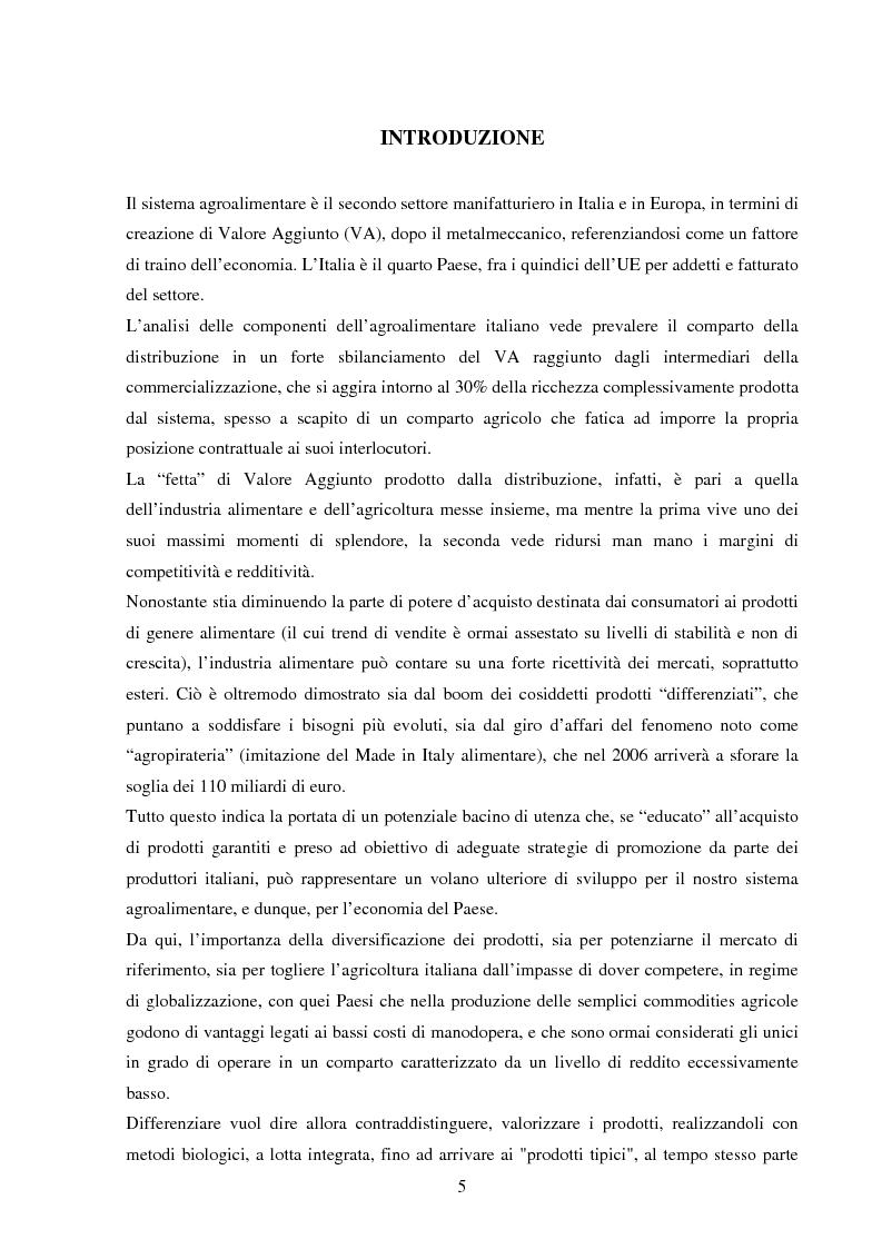 Anteprima della tesi: La valorizzazione dei prodotti tipici. Le potenzialità e gli strumenti a sostegno del comparto nel Sannio, Pagina 1