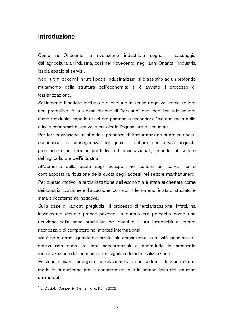 Anteprima della tesi: Le dinamiche di terziarizzazione dell'economia: un'indagine comparata sulla Regione Umbria, Pagina 1