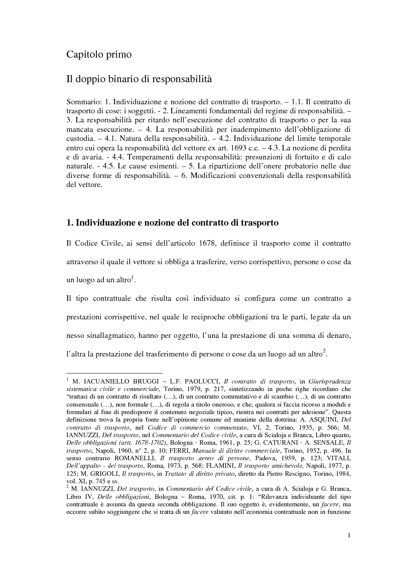 Anteprima della tesi: La responsabilità del vettore stradale di cose per ritardo nella riconsegna, Pagina 1