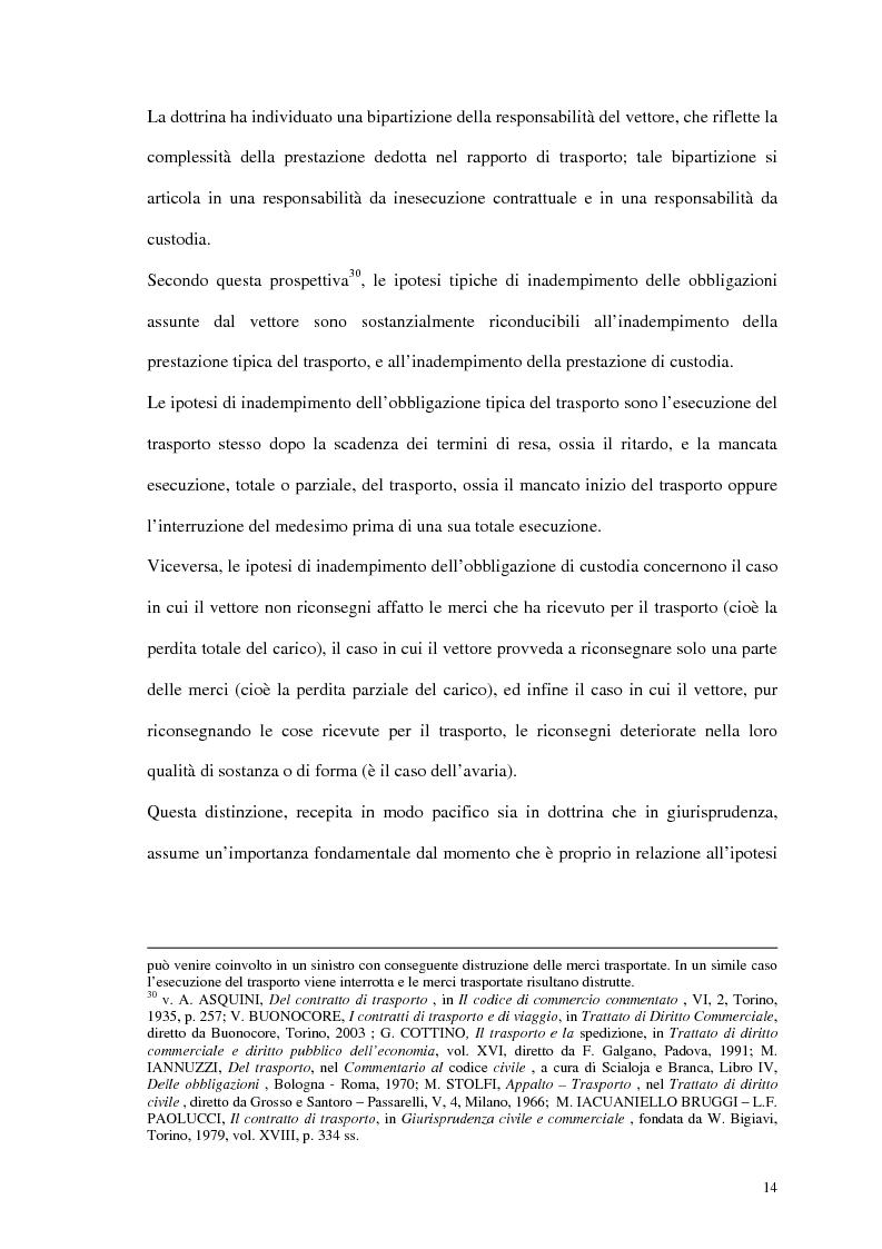 Anteprima della tesi: La responsabilità del vettore stradale di cose per ritardo nella riconsegna, Pagina 14