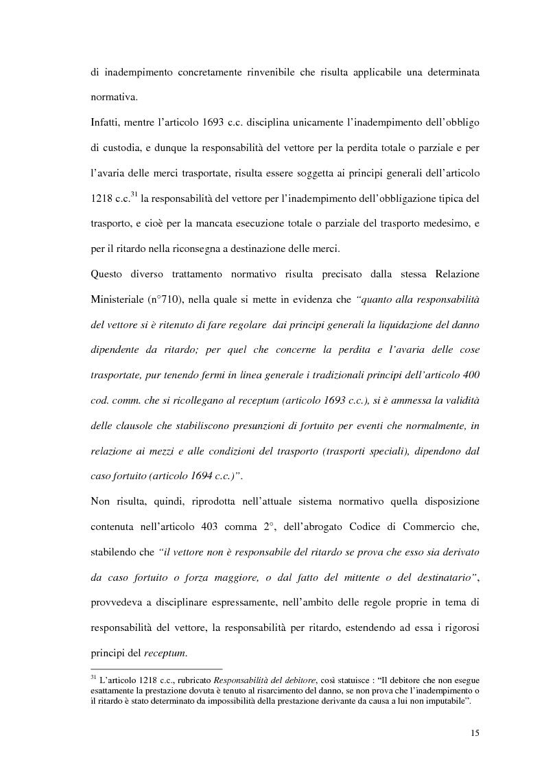 Anteprima della tesi: La responsabilità del vettore stradale di cose per ritardo nella riconsegna, Pagina 15