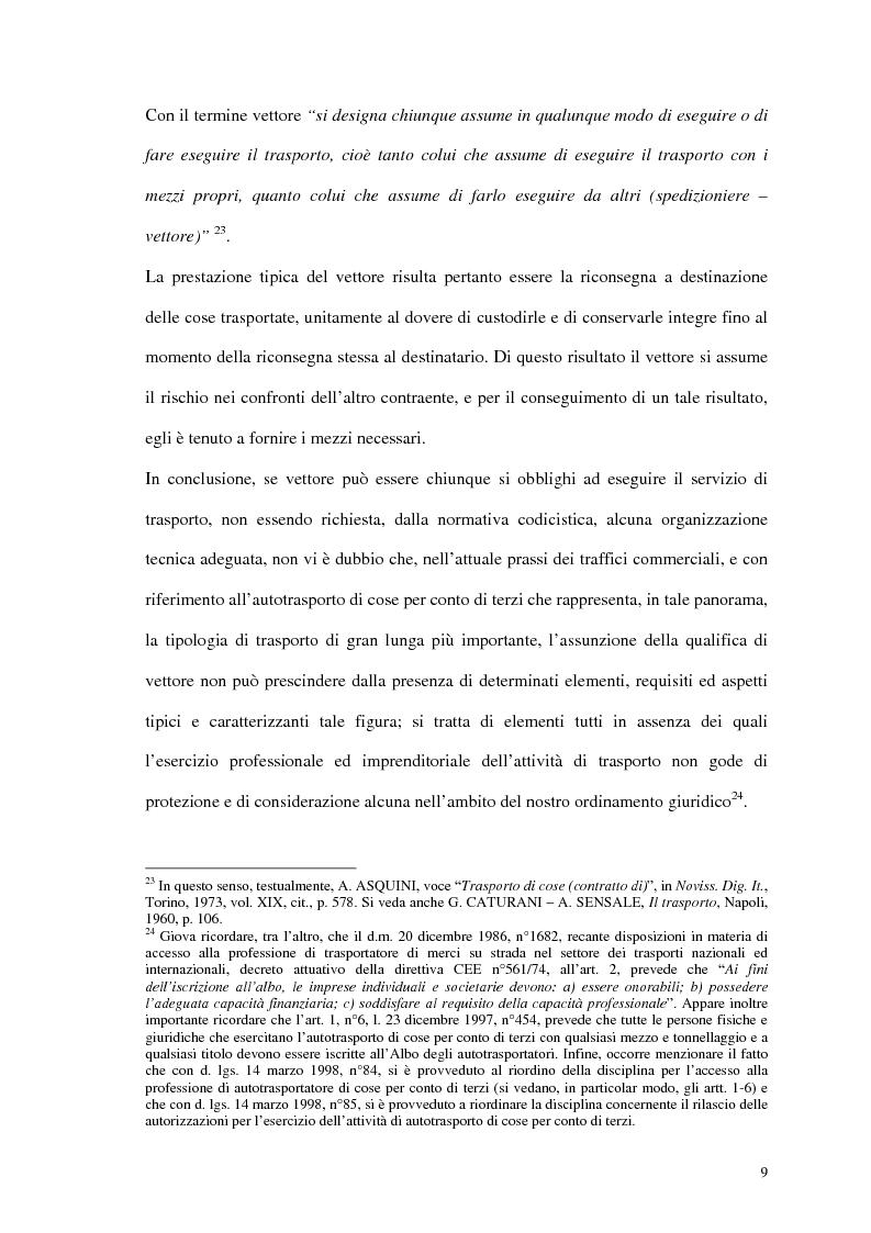 Anteprima della tesi: La responsabilità del vettore stradale di cose per ritardo nella riconsegna, Pagina 9