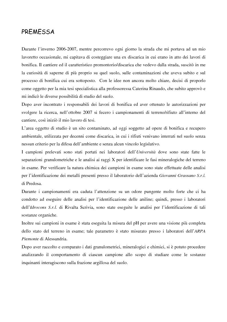 Anteprima della tesi: Interazione tra gli inquinanti e la frazione argillosa del suolo in un sito contaminato soggetto ad opere di bonifica e recupero ambientale, Pagina 1