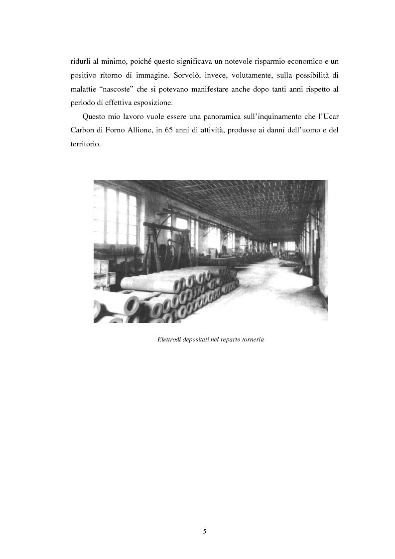 Anteprima della tesi: Inquinamento sull'uomo e sull'ambiente della Ucar Carbon di Forno Allione (BS), Pagina 3