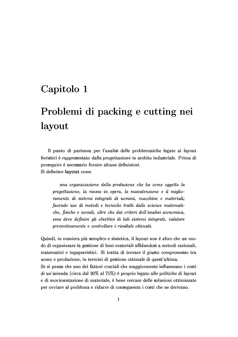 Anteprima della tesi: Modelli e algoritmi per l'ottimizzazione di layout fieristici, Pagina 3