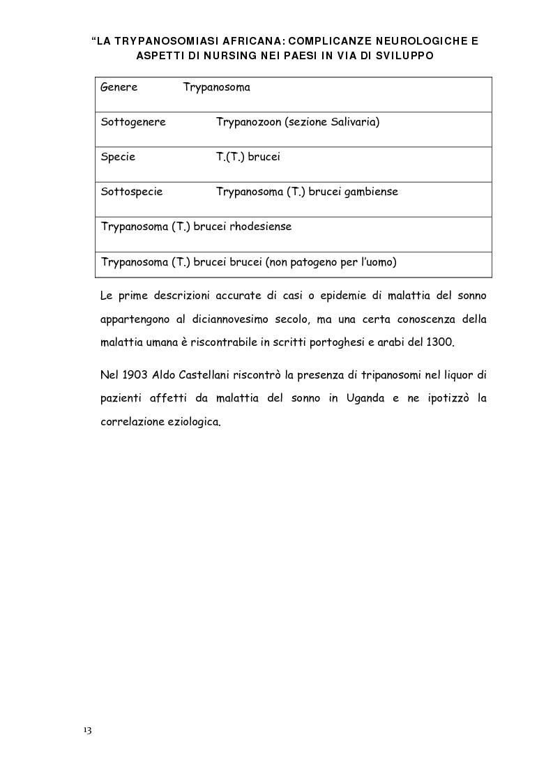 Anteprima della tesi: La trypanosomiasi africana e le complicanze neurologiche, Pagina 9