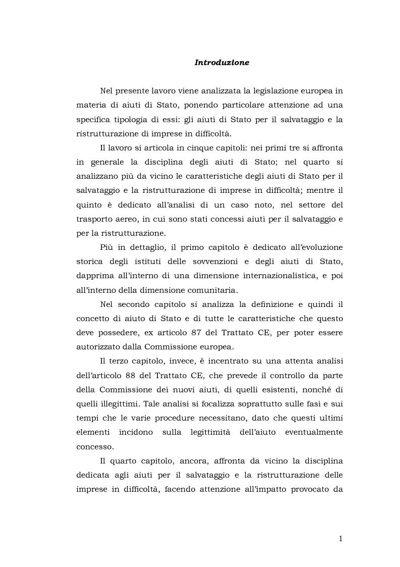 Anteprima della tesi: Gli aiuti di stato per il salvataggio e la ristrutturazione di imprese in difficoltà: il caso Alitalia, Pagina 1