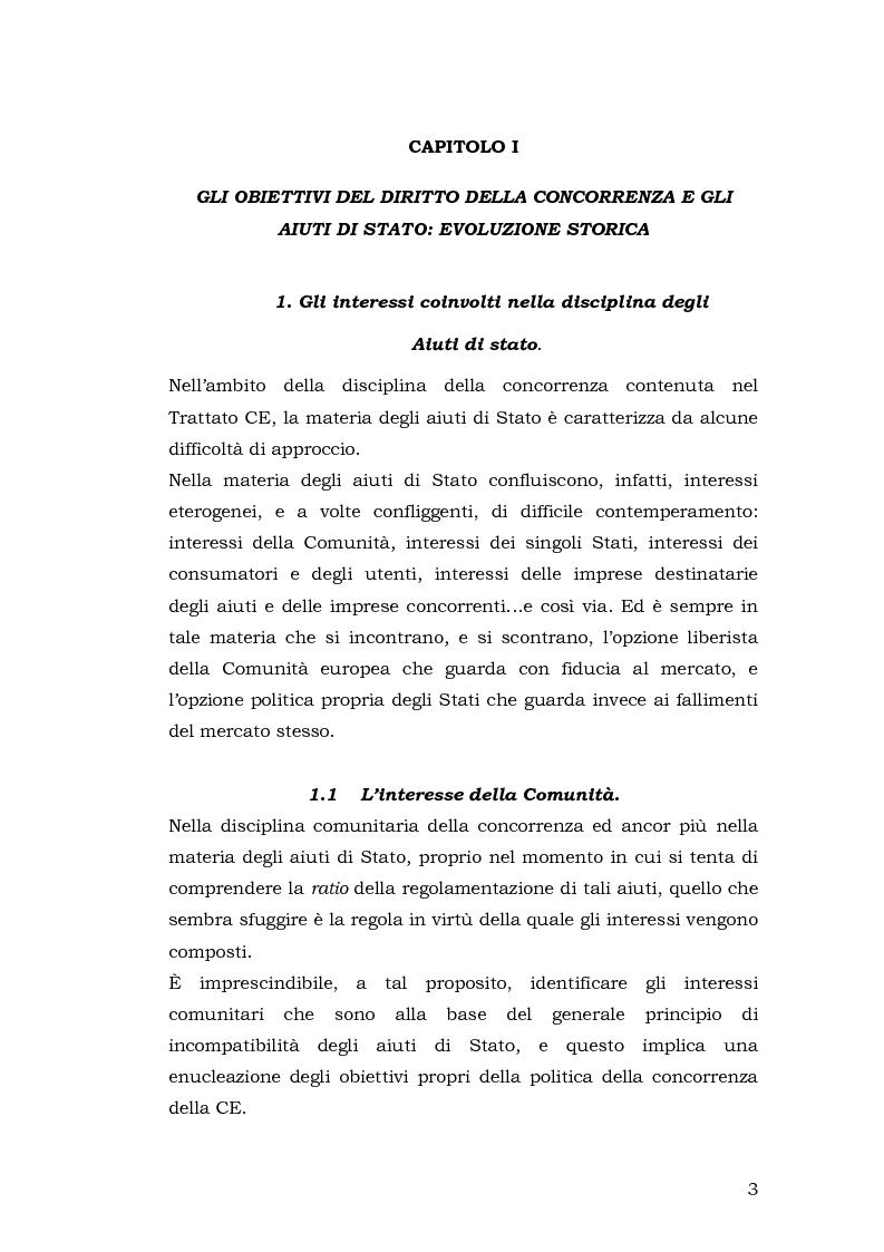Anteprima della tesi: Gli aiuti di stato per il salvataggio e la ristrutturazione di imprese in difficoltà: il caso Alitalia, Pagina 3