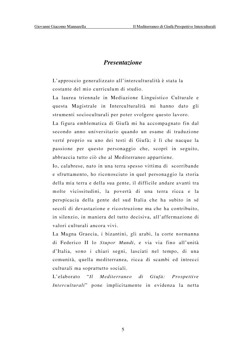 Anteprima della tesi: Il Mediterraneo di Giufà: prospettive interculturali, Pagina 1