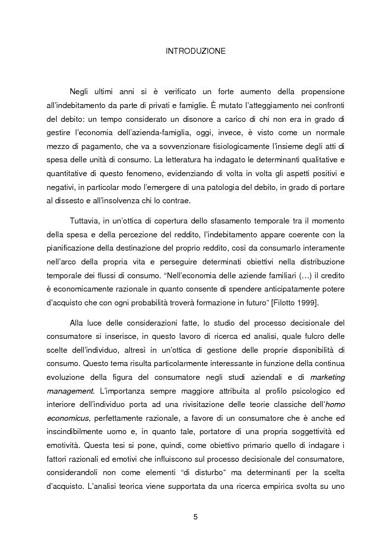 Anteprima della tesi: La propensione all'indebitamento: fattori razionali ed emotivi nel processo decisionale del consumatore, Pagina 1