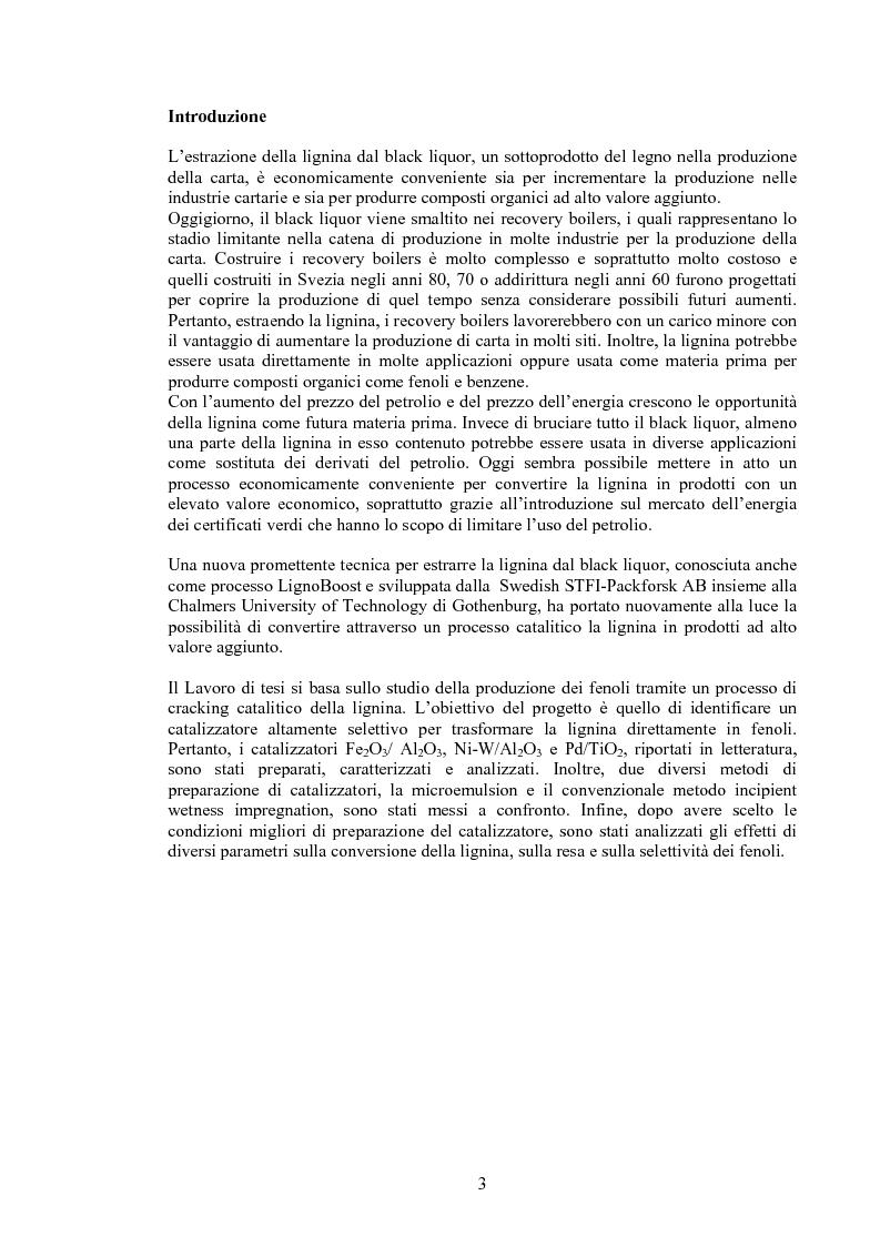 Anteprima della tesi: Produzione di fenoli da cracking catalitico della lignina - Catalytic Hydrocracking of Lignin for Phenols Production, Pagina 1