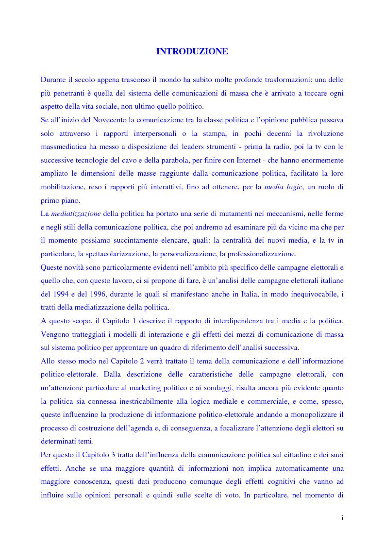 Anteprima della tesi: Le campagne elettorali italiane del 1994 e del 1996. Un'analisi comparata., Pagina 1