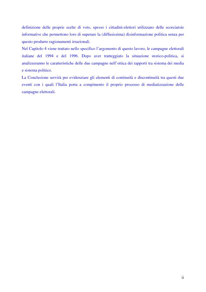 Anteprima della tesi: Le campagne elettorali italiane del 1994 e del 1996. Un'analisi comparata., Pagina 2