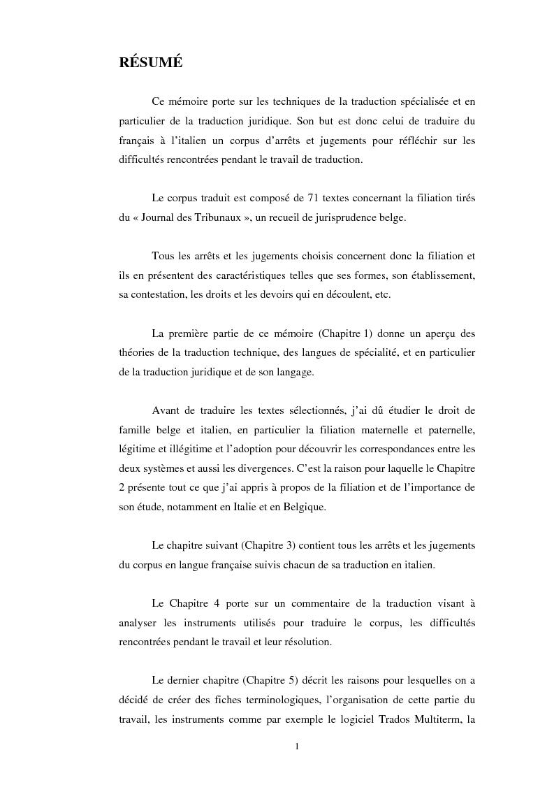 Dissertation sur la filiation en droit civil