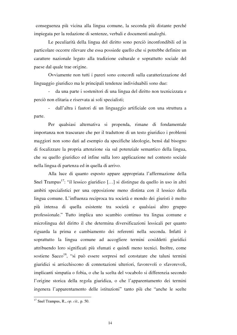 Anteprima della tesi: Teoria e pratica della traduzione: la filiazione e le sentenze del ''Journal del tribunaux'', Pagina 10