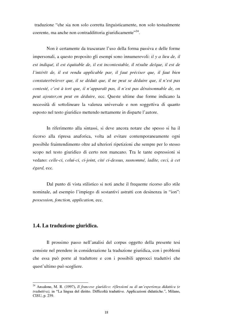 Anteprima della tesi: Teoria e pratica della traduzione: la filiazione e le sentenze del ''Journal del tribunaux'', Pagina 14
