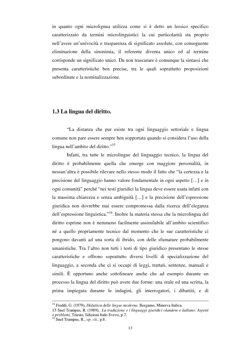 Anteprima della tesi: Teoria e pratica della traduzione: la filiazione e le sentenze del ''Journal del tribunaux'', Pagina 9