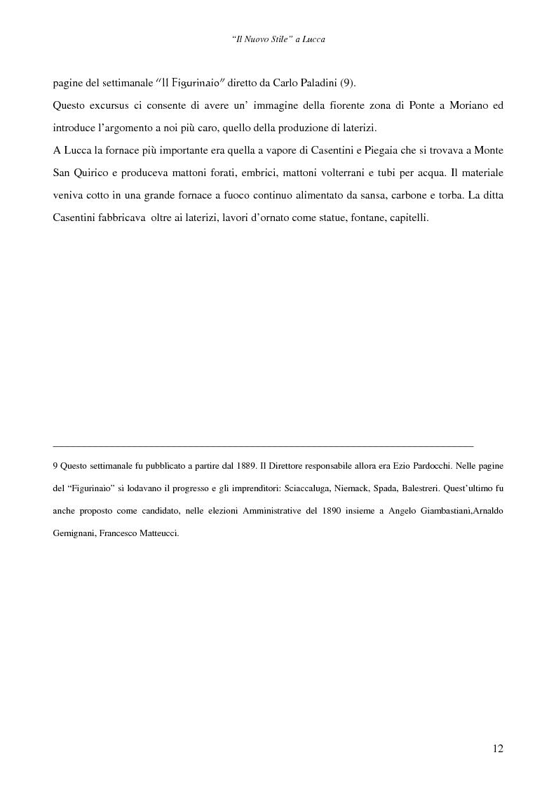 Anteprima della tesi: Il ''Nuovo Stile'' a Lucca - Gli artigiani del cemento tra fine ottocento ed inizi novecento, Pagina 10