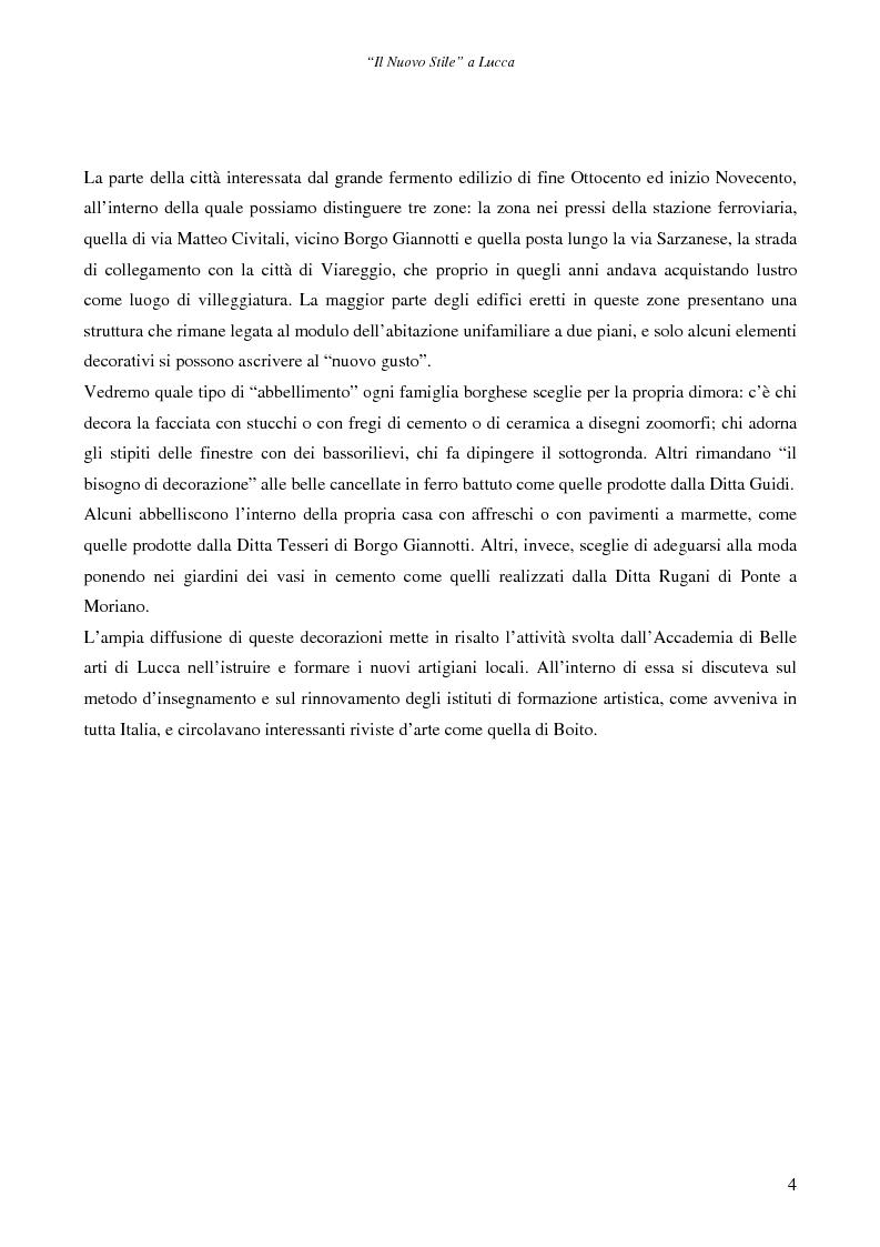 Anteprima della tesi: Il ''Nuovo Stile'' a Lucca - Gli artigiani del cemento tra fine ottocento ed inizi novecento, Pagina 2