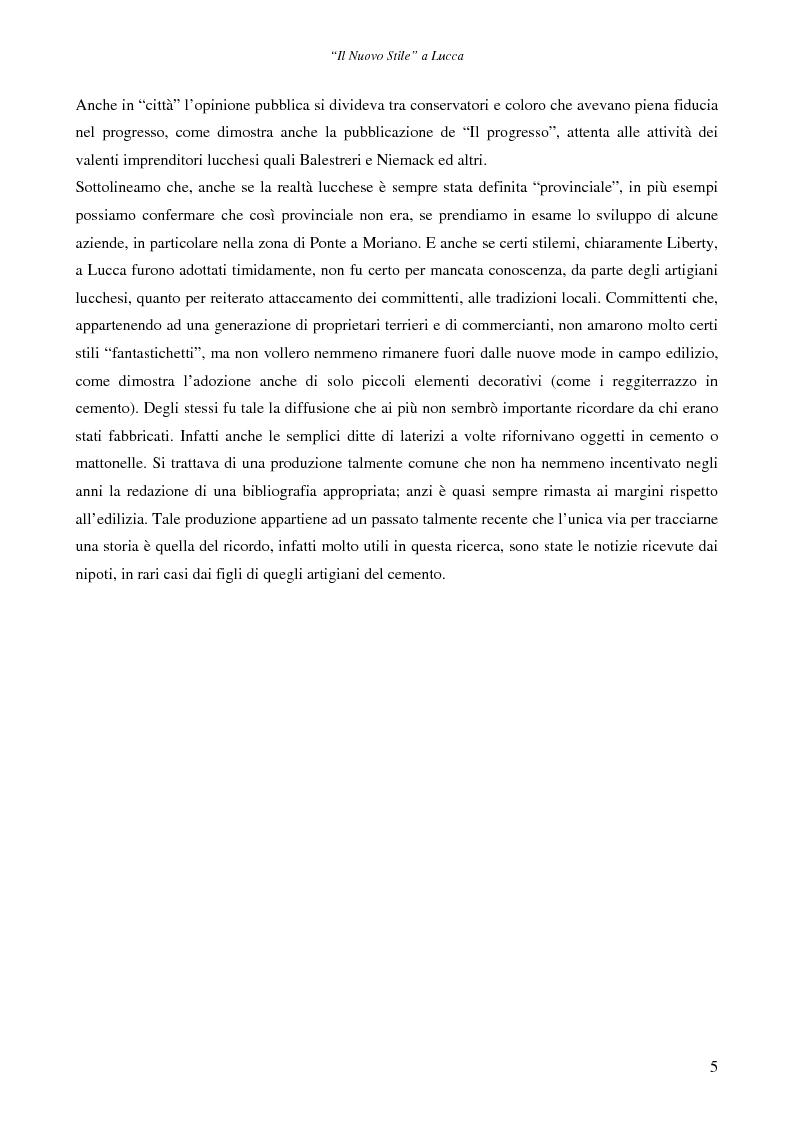Anteprima della tesi: Il ''Nuovo Stile'' a Lucca - Gli artigiani del cemento tra fine ottocento ed inizi novecento, Pagina 3