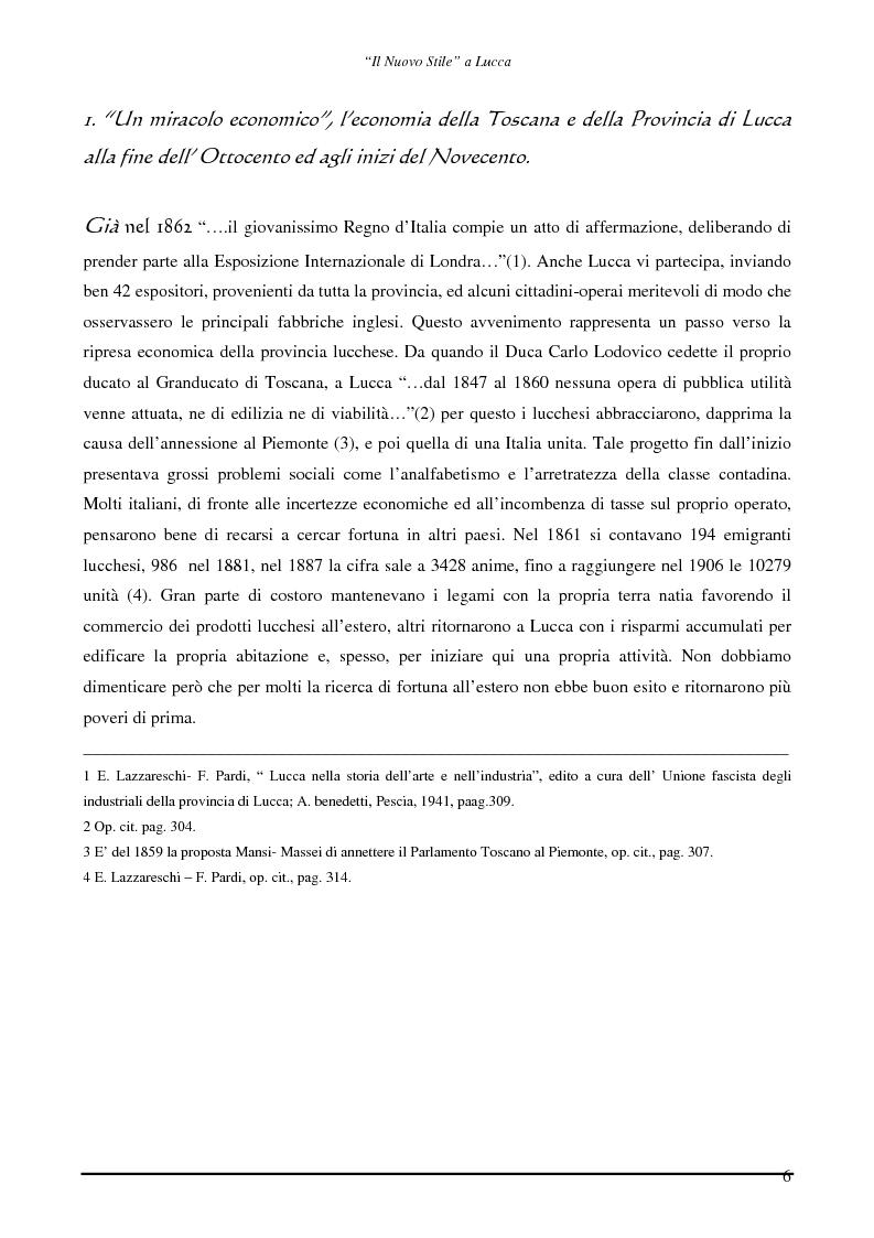 Anteprima della tesi: Il ''Nuovo Stile'' a Lucca - Gli artigiani del cemento tra fine ottocento ed inizi novecento, Pagina 4