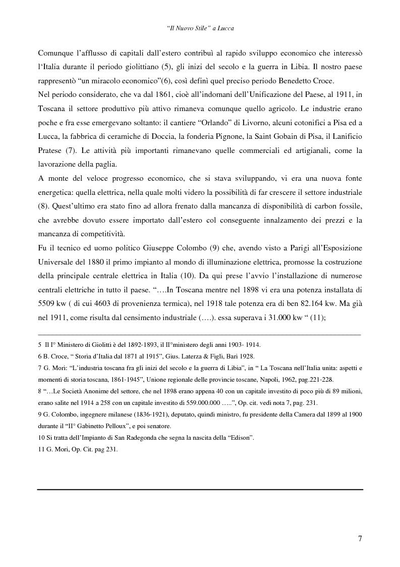 Anteprima della tesi: Il ''Nuovo Stile'' a Lucca - Gli artigiani del cemento tra fine ottocento ed inizi novecento, Pagina 5