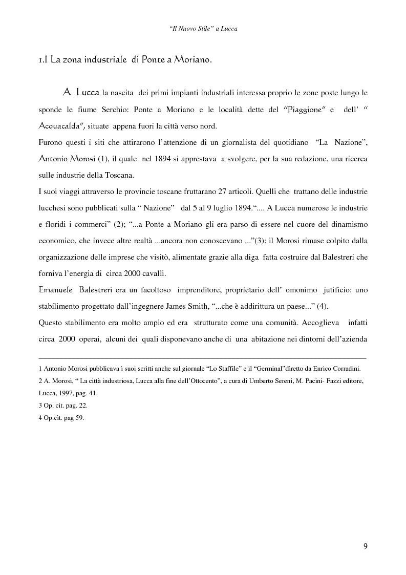 Anteprima della tesi: Il ''Nuovo Stile'' a Lucca - Gli artigiani del cemento tra fine ottocento ed inizi novecento, Pagina 7