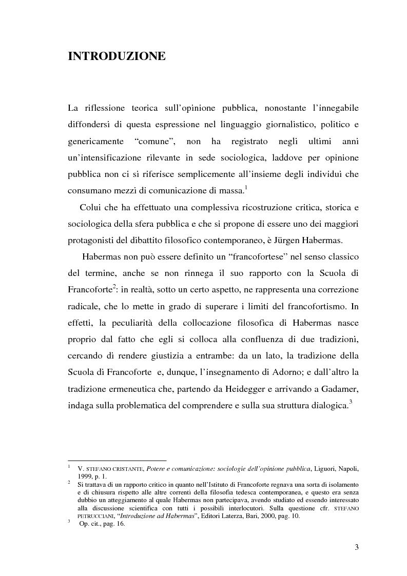 Anteprima della tesi: L'opinione pubblica nel pensiero politico del primo Habermas, Pagina 1