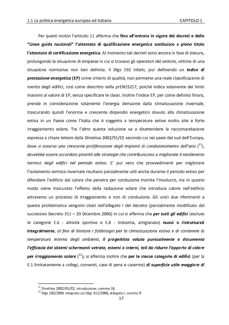 Anteprima della tesi: Building automation ed efficienza energetica: metodologia di valutazione del risparmio energetico conseguibile mediante controllo integrato dell'illuminazione e delle protezioni solari, Pagina 11