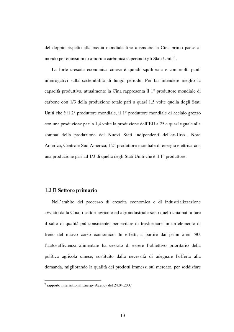 Anteprima della tesi: Prodotti agroalimentari: rapporti Italia-Cina. Il commercio, il rischio della concorrenza e le opportunità di un nuovo mercato, Pagina 7
