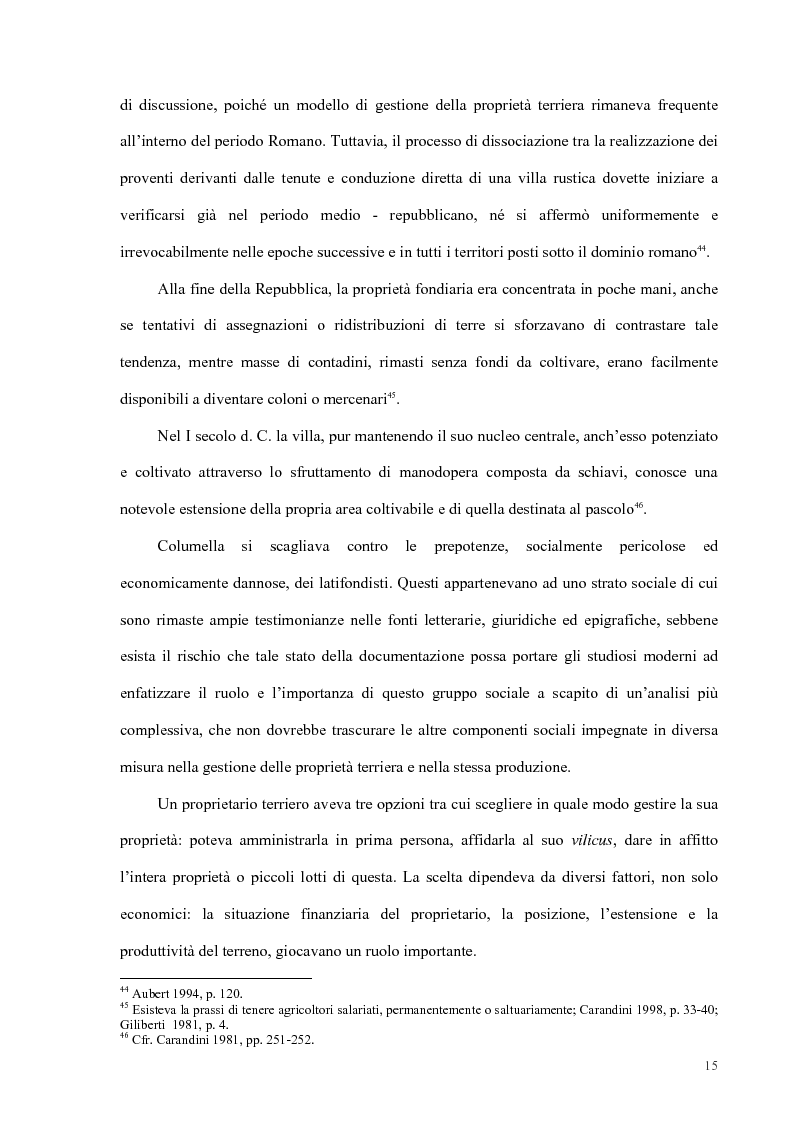 Anteprima della tesi: Organizzazione del lavoro nelle proprietà rurali in età Imperiale (con particolare attenzione al personale epigraficamente attestato in Puglia), Pagina 12