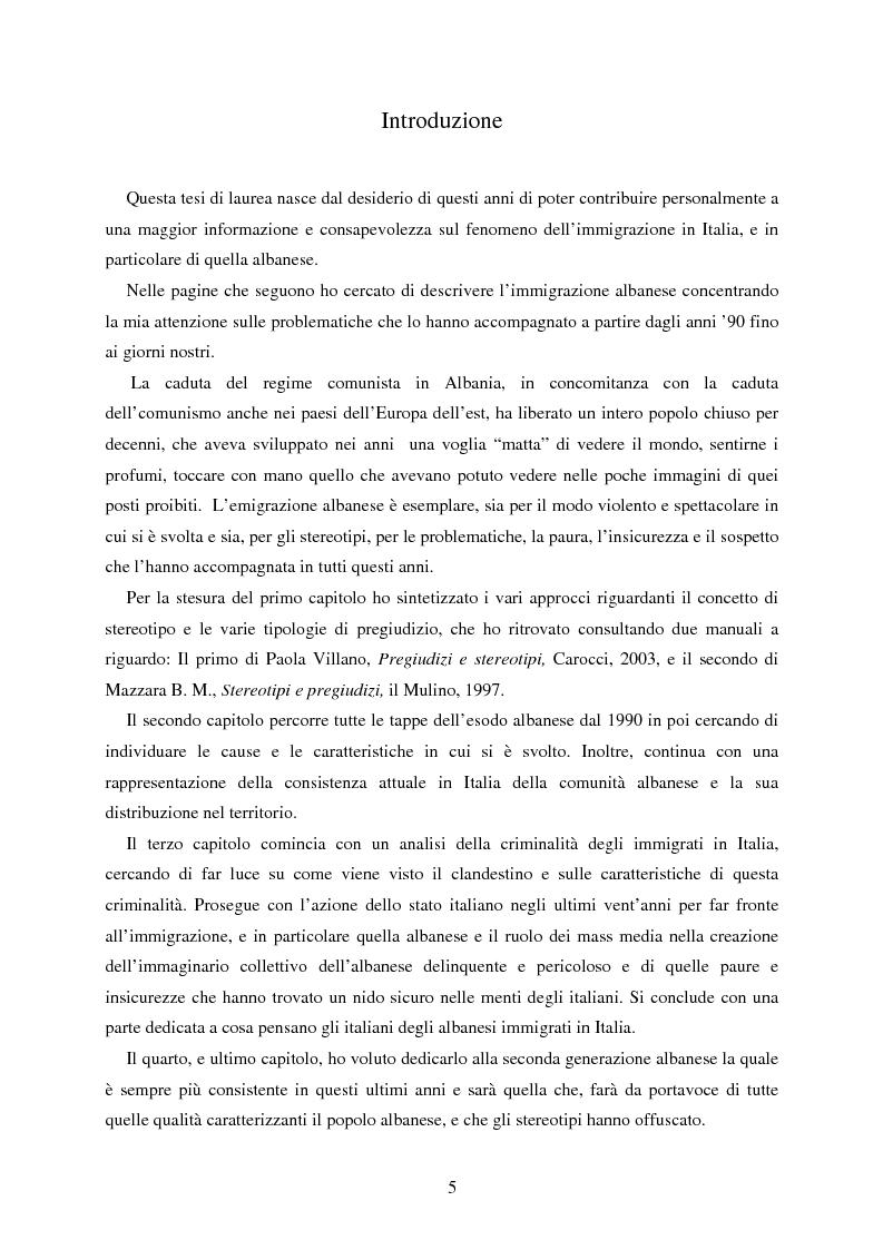 Anteprima della tesi: Aquile in fuga. L'immigrazione albanese in Italia tra costruzioni mediatiche, vincoli legislativi e sogni d'integrazione, Pagina 1
