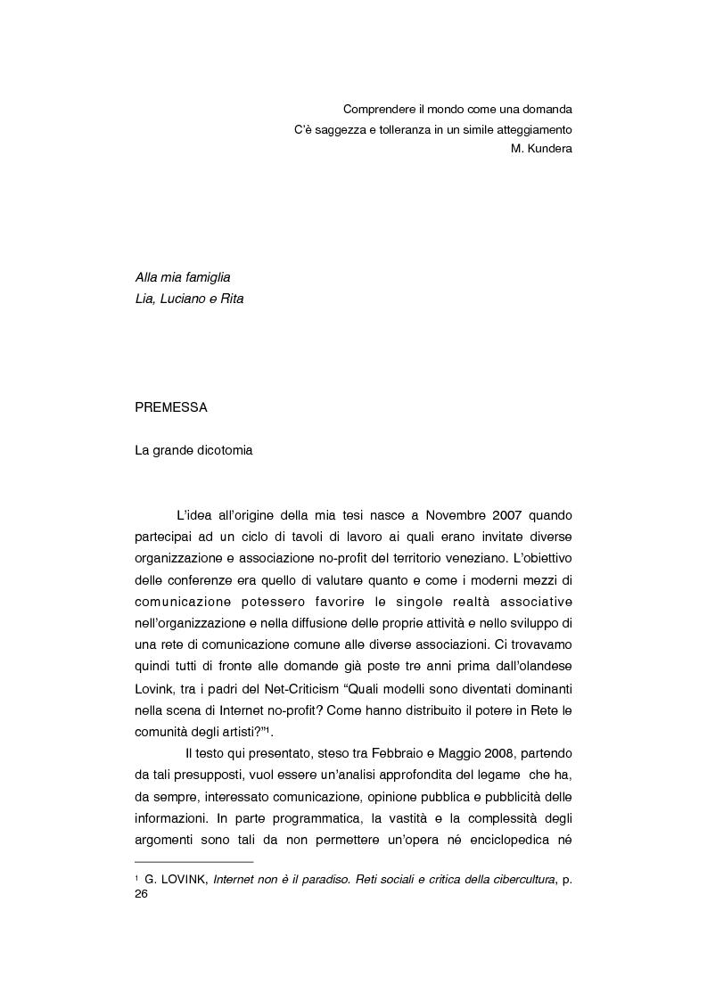 Anteprima della tesi: Dov'è finita l'opinione pubblica al tempo del social-network? Riflessioni su newmedia e comunicazione, Pagina 1