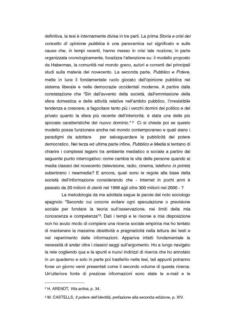 Anteprima della tesi: Dov'è finita l'opinione pubblica al tempo del social-network? Riflessioni su newmedia e comunicazione, Pagina 2
