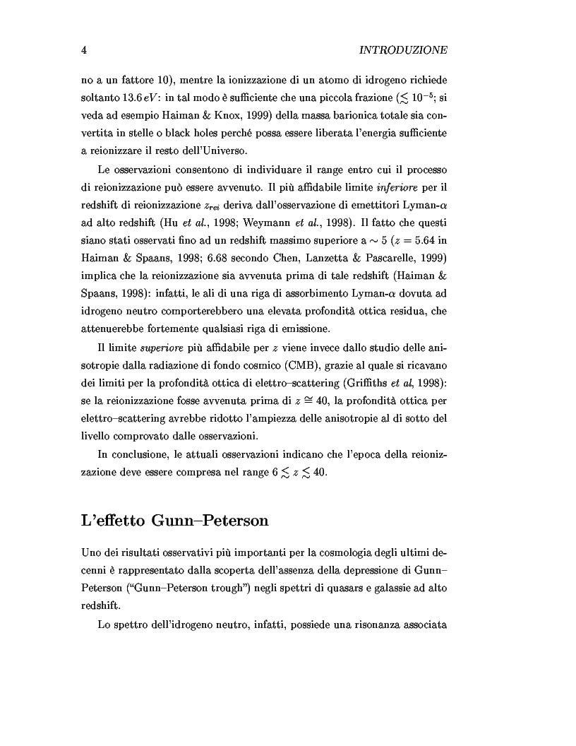 Anteprima della tesi: Il ruolo dei quasars nel processo di reionizzazione dell'universo, Pagina 2