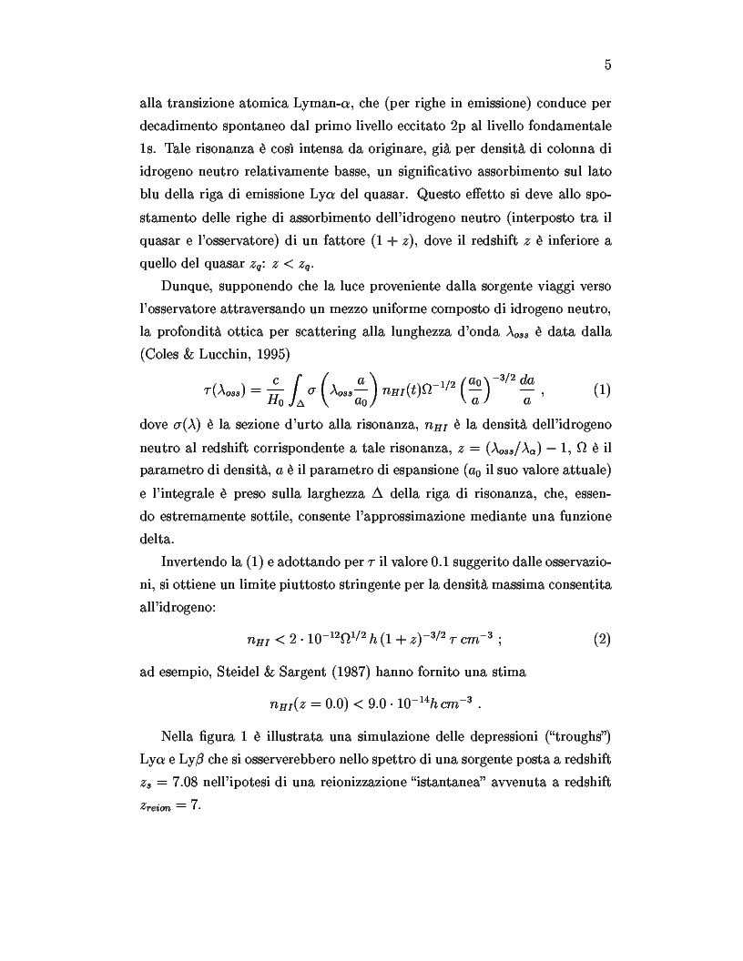 Anteprima della tesi: Il ruolo dei quasars nel processo di reionizzazione dell'universo, Pagina 3