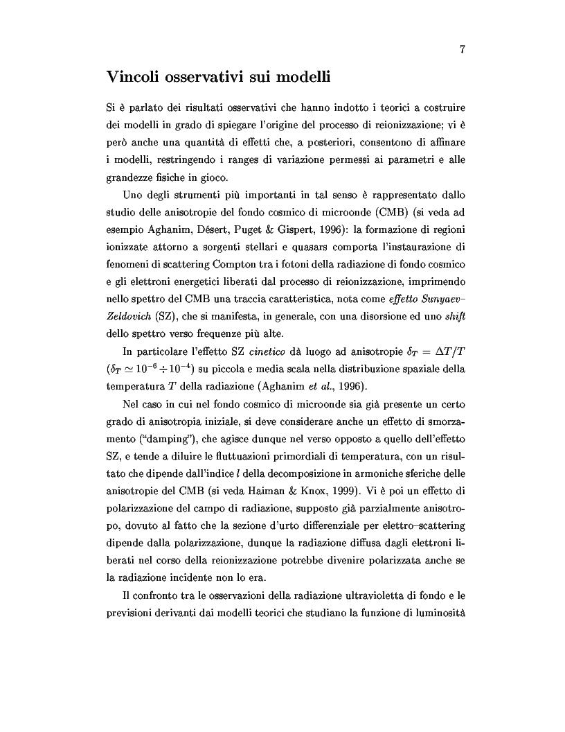 Anteprima della tesi: Il ruolo dei quasars nel processo di reionizzazione dell'universo, Pagina 5