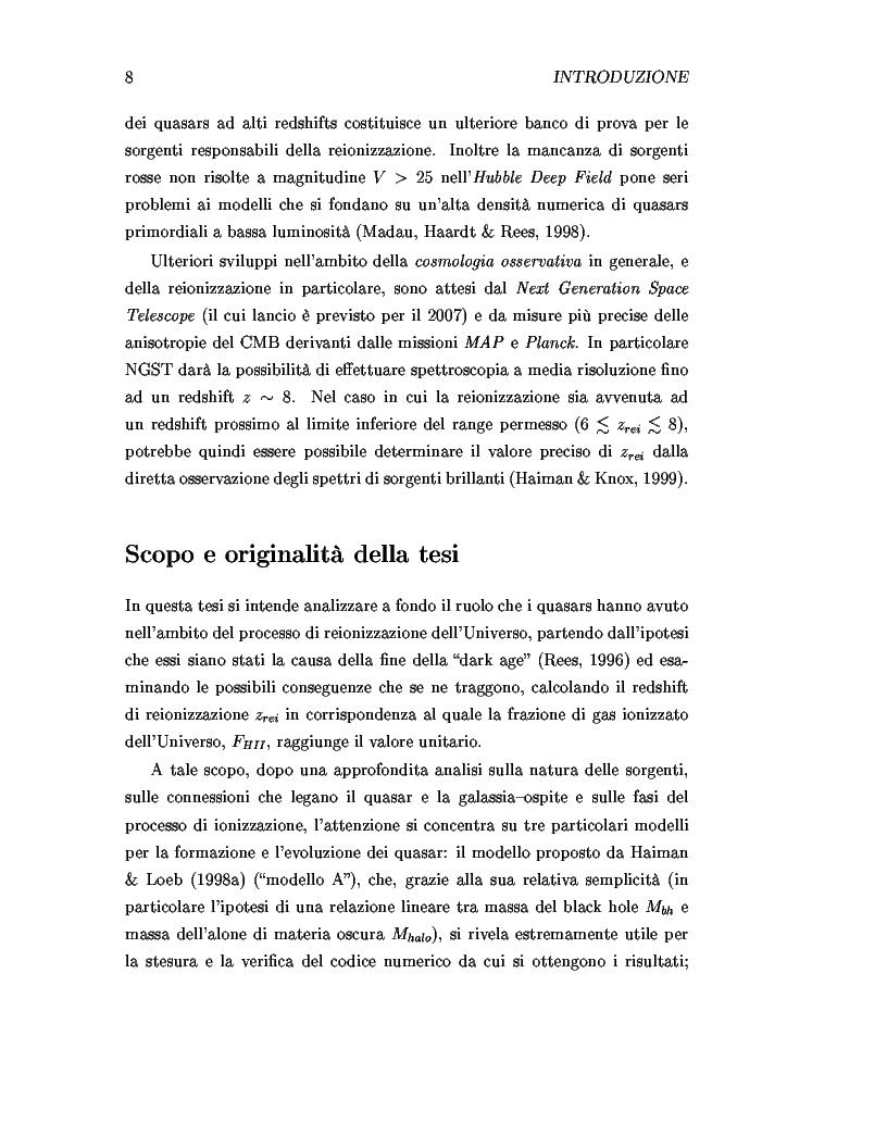 Anteprima della tesi: Il ruolo dei quasars nel processo di reionizzazione dell'universo, Pagina 6