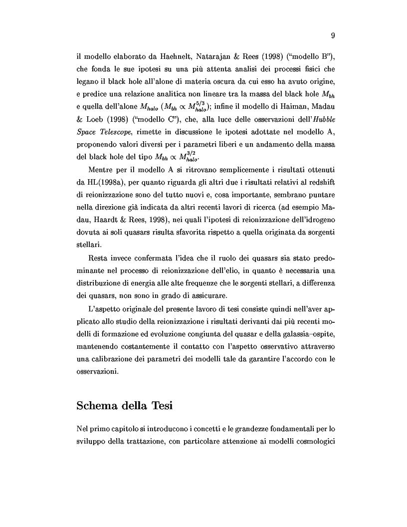 Anteprima della tesi: Il ruolo dei quasars nel processo di reionizzazione dell'universo, Pagina 7
