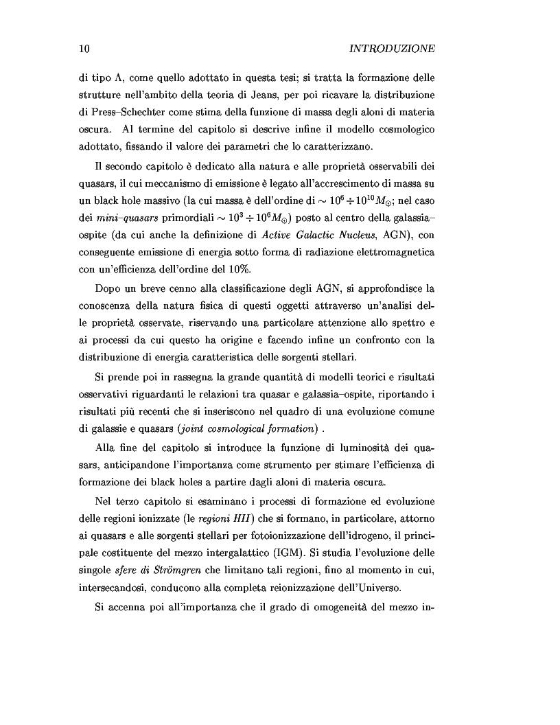 Anteprima della tesi: Il ruolo dei quasars nel processo di reionizzazione dell'universo, Pagina 8