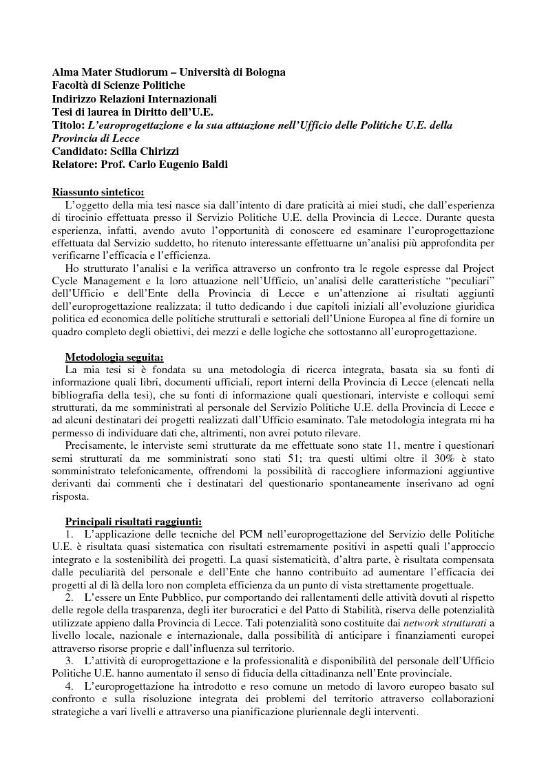 Anteprima della tesi: L'europrogettazione e la sua attuazione nell'Ufficio delle Politiche UE della Provincia di Lecce, Pagina 1