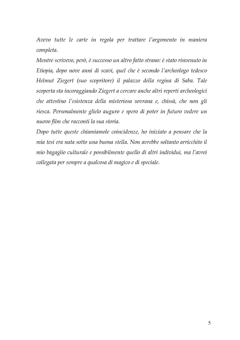 Anteprima della tesi: La regina di Saba: rielaborazione cinematografica di un tema mitico, Pagina 3