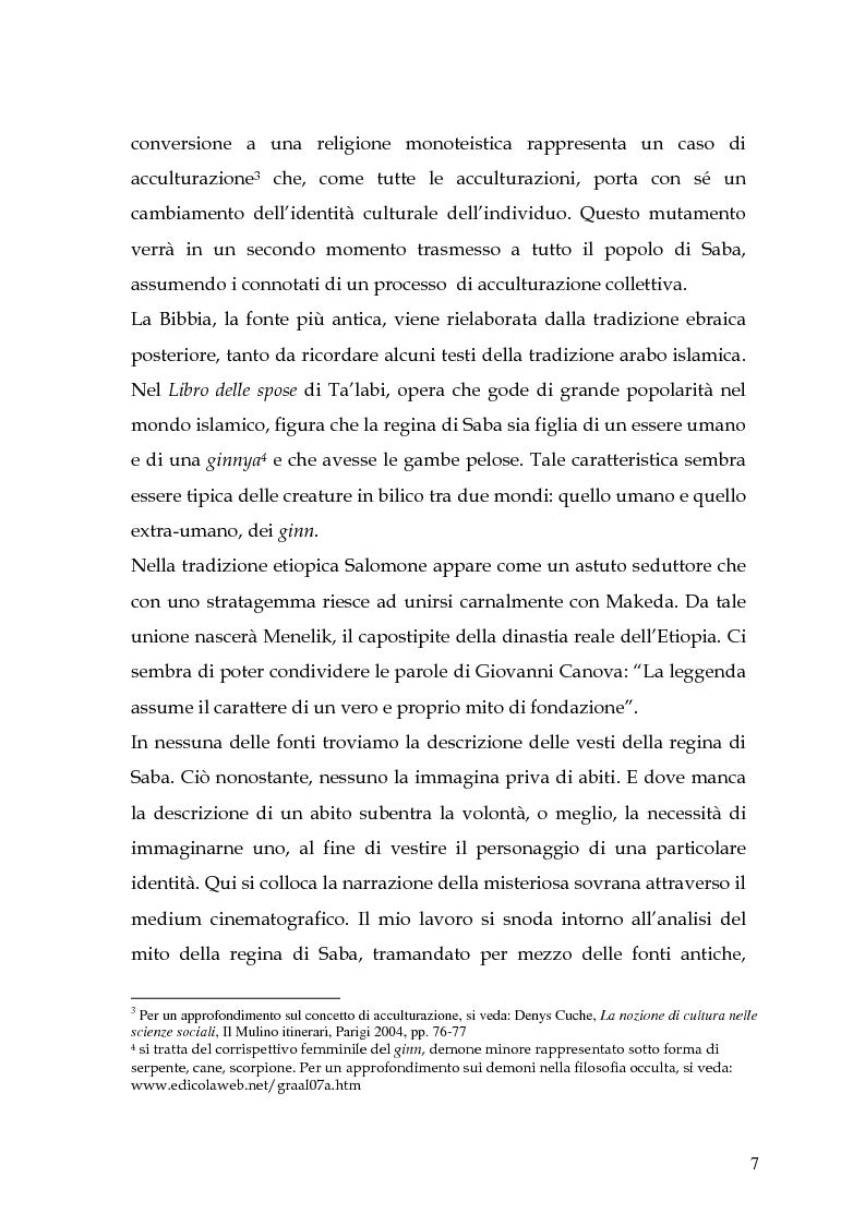 Anteprima della tesi: La regina di Saba: rielaborazione cinematografica di un tema mitico, Pagina 5