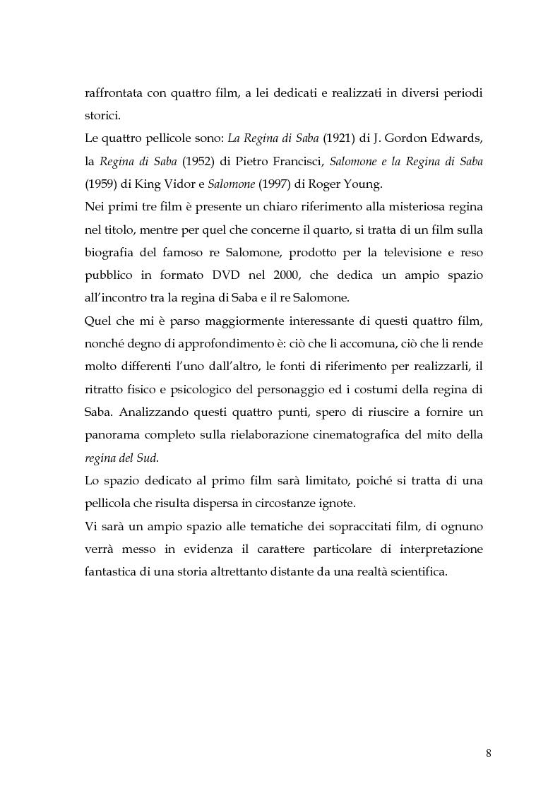 Anteprima della tesi: La regina di Saba: rielaborazione cinematografica di un tema mitico, Pagina 6
