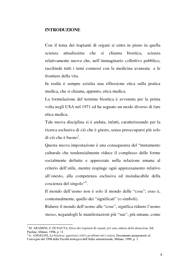 Anteprima della tesi: Problemi biogiuridici dei trapianti di organi, Pagina 1