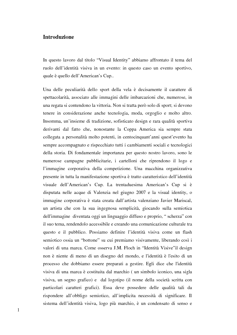Anteprima della tesi: La visual identity nella costruzione della 32 America's Cup passando dal segno visivo, Pagina 1